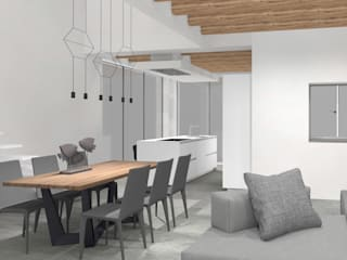 Progettazione e installazione di Cucina in Casale in ristrutturazione Sala da pranzo moderna di SIMONETTA ARREDA Moderno