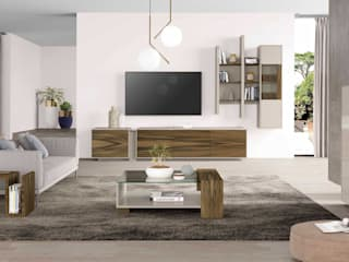 Ambiente de sala de estar em nogueira e lacado mate bege Living room setting in walnut and beige matte lacquered ISSAH por Intense mobiliário e interiores Moderno