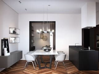 Interno Murattiano Sala da pranzo minimalista di marco tassiello architetto Minimalista