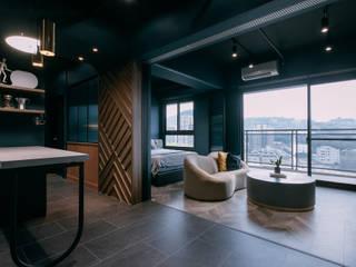 漢玥室內設計 Industrial style living room Turquoise