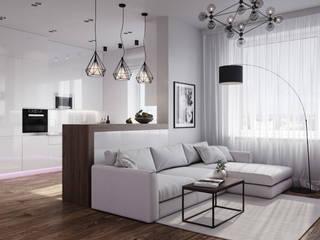 Белый интерьер для молодой девушки Гостиная в стиле минимализм от Make My Flat Interiors Минимализм