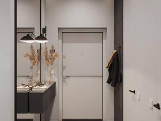 Скандинавский минимализм с брутальными нотками Коридор, прихожая и лестница в стиле минимализм от Make My Flat Interiors Минимализм