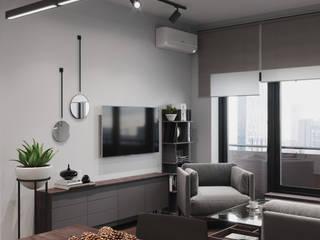 Скандинавский минимализм с брутальными нотками Гостиная в стиле минимализм от Make My Flat Interiors Минимализм