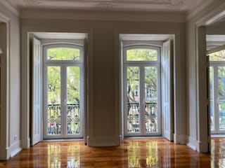 Apartamento Av. D. Carlos I Salas de estar minimalistas por Origem Arquitectos Minimalista