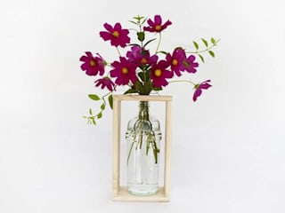 Recycled Gin Bottle Vase with Reclaimed Wood Stand | Reclaim Design: modern  by Reclaim Design, Modern