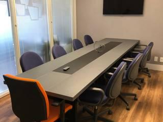 Mesa Reunião Novais Mobiliário Escritórios modernos MDF Efeito de madeira
