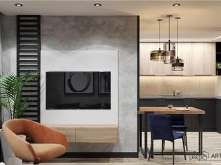 Квартира площадью 90,1 м.кв. Гостиная в стиле лофт от Art Family Лофт