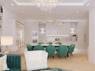 Кухня-гостиная в 3-комнатной квартире Кухня в классическом стиле от Студия дизайна интерьеров и ремонта Алексея Выходца Классический