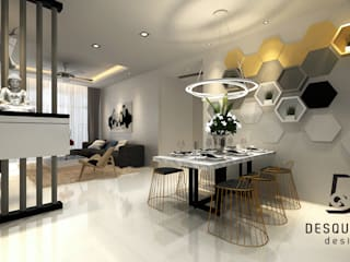 Proposed Concept Ideas for Condo Unit at Sierra East Desquared Design Modern dining room Plywood Multicolored