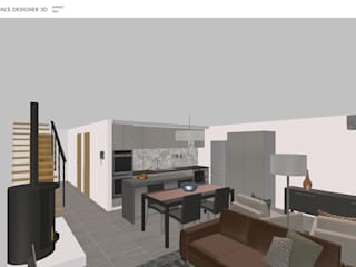 Moradia unifamiliar Salas de estar minimalistas por Decodesign Minimalista