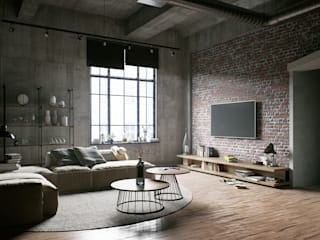 Industrial style living room by RQuatro Render Studio Industrial