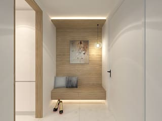 FIVE STONES CONDOMINIUM Scandinavian corridor, hallway & stairs by Simsan Design Scandinavian
