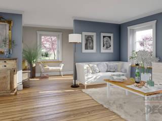 Projekt und Visualisierung von Landhaus in Magnolien Garten. Wohnzimmer im Landhausstil von MITKO DESIGN Landhaus
