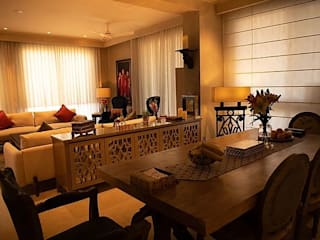 Apartment renovation in Emaar Palm Springs Gurgaon Eclectic style dining room by Stonehenge Designs Eclectic