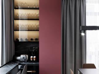 Full_red_panorama Гостиная в стиле минимализм от PARA stuio Минимализм
