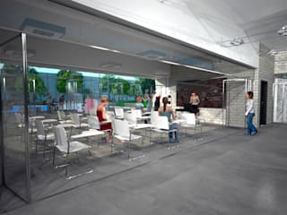 D4-Arquitectos Salas de entretenimiento de estilo moderno Metal Gris