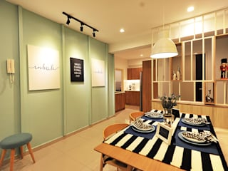 Productivity Projected @ The Zest, Kinrara 9 Condominium Scandinavian style dining room by DCS CREATIVES SDN. BHD. Scandinavian