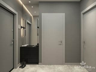 """Дизайн квартиры в ЖК """"Левобережный"""" - 45 м² variatika Коридор, прихожая и лестница в стиле минимализм"""