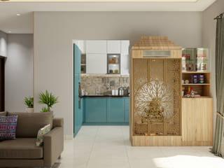 Pooja and Crockery Unit Urban Closet Living room MDF Wood effect