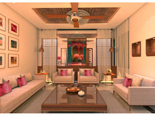 AGS VILLA @ CHENNAI Asian style living room by The tree design studios Asian