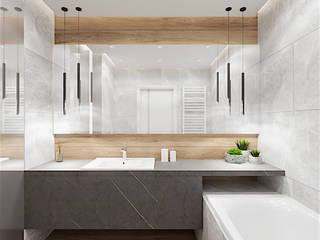 Łazienka gościnna w domu jednorodzinnym Nowoczesna łazienka od Wkwadrat Architekt Wnętrz Toruń Nowoczesny