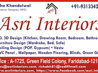 Interiors Design & Space Planning for a Builder Floor (Green Field) by Asri Interiors Faridabad by Asri Interiors Asian