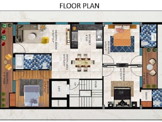 Interiors Design & Space Planning for a Builder Floor (Green Field) by Asri Interiors Faridabad by Asri Interiors