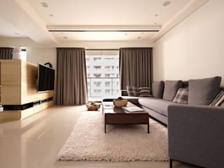 桃園王宅 城隅設計 现代客厅設計點子、靈感 & 圖片 White