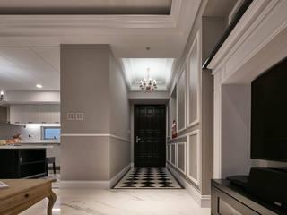 家居洪公館 城隅設計 乡村风格的走廊,走廊和楼梯 Grey