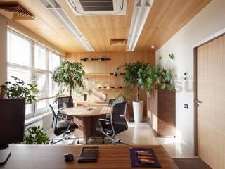 Элитный интерьер офиса на Рябиновой Рабочий кабинет в стиле модерн от Nikolaeff.su Модерн