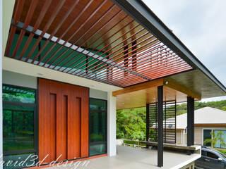 บ้านพักอาศัยชั้นเดียว มีดาดฟ้า อ.มวกเหล็ก คุณวรวิทย์: ทันสมัย  โดย fewdavid3d-design, โมเดิร์น