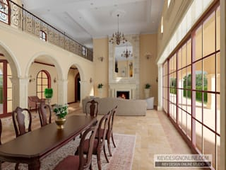 Дизайн дома в Средиземноморском стиле по Калифорнийски Гостиная в средиземноморском стиле от Kiev Design Online Studio Средиземноморский