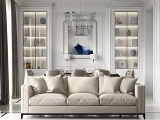 Neo Classical design De Panache Hyderabad Modern living room Plywood Beige