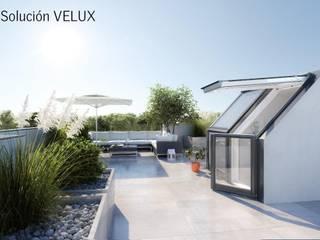 TU TERRAZA: TU NUEVO OASIS CON VELUX VELUXMadrid Balcones y terrazas de estilo moderno Vidrio Gris