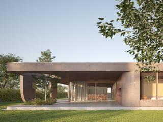 211 — Casa con un ampio portico e vista sul parco MIDE architetti Giardino moderno Cemento Rosa