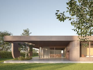 MIDE architetti Jardins modernos Betão Rosa