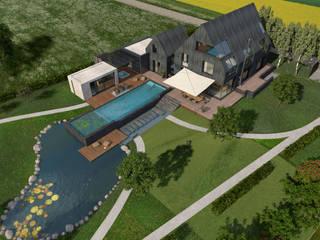 Villa mit Sauna und Pool Moderner Garten von architekten wendling Modern