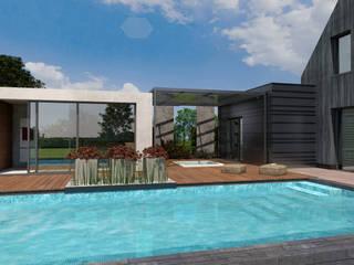 Villa mit Sauna und Pool Moderne Pools von architekten wendling Modern