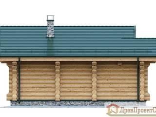 Проект бани № 4, из оцилиндрованных бревен 64,60м², 8000 х 10600. ПСК Древпроектстрой Дома в классическом стиле Дерево