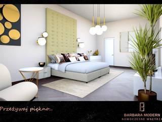 Sypialnia w stylu modern - classic ze złotymi dodatkami Nowoczesna sypialnia od BARBARA MODERN - NOWOCZESNE WNĘTRZA Nowoczesny