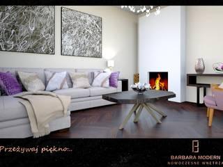 Nowoczesny salon z klasycznymi elementami Nowoczesny salon od BARBARA MODERN - NOWOCZESNE WNĘTRZA Nowoczesny