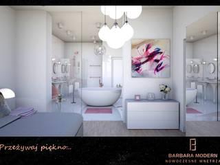 Nowoczesna sypialnia z pokojem kąpielowym Nowoczesna sypialnia od BARBARA MODERN - NOWOCZESNE WNĘTRZA Nowoczesny