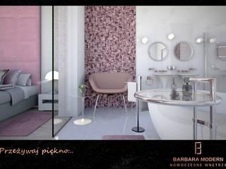 Nowoczesna sypialnia z pokojem kąpielowym Nowoczesna łazienka od BARBARA MODERN - NOWOCZESNE WNĘTRZA Nowoczesny