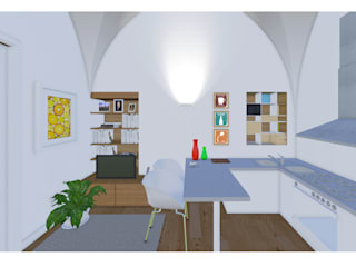 Restauro edificio monumentale Studio Dalla Vecchia Architetti Cucina piccola