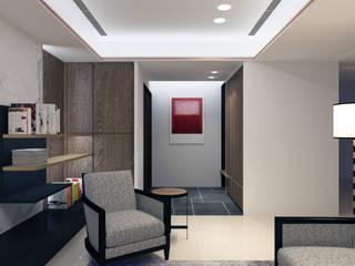 三重富貴街的私人會所 現代風玄關、走廊與階梯 根據 超越設計工作室 現代風
