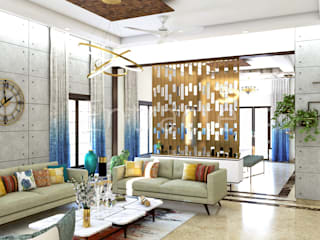 Villa In Adarsh Palm Retreat Asian style living room by Entracte Asian