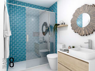 TRAÇO 8 INTERIORES Mediterranean style bathrooms Wood Blue