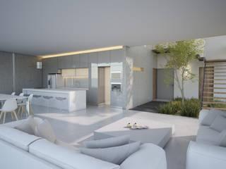 Casa AR20 Salones minimalistas de 21arquitectos Minimalista