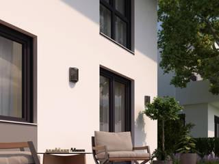 3D Architekturvisualisierung Doppelhaus Moderner Balkon, Veranda & Terrasse von GRIFFEL 3D DESIGN Modern