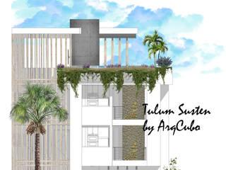 Arqcubo Arquitectos Rumah teras Kayu White